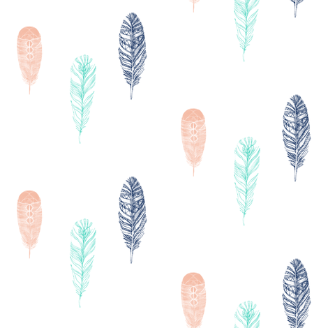 Falling Feathers fabric by ajoyfulriot on Spoonflower - custom fabric