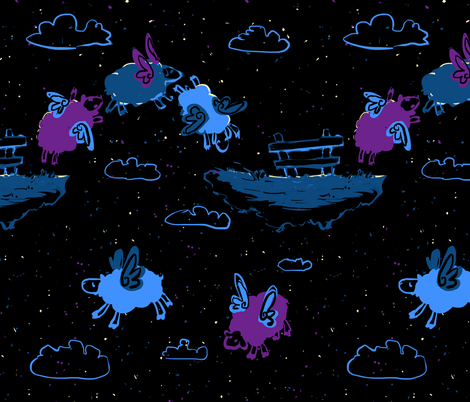Flying sheep fabric by risu_rose on Spoonflower - custom fabric