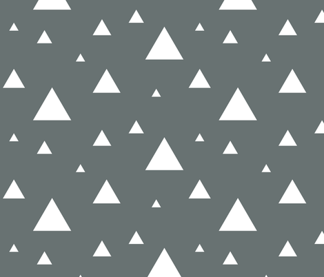 White Triangles on Grey fabric by sierra_gallagher on Spoonflower - custom fabric