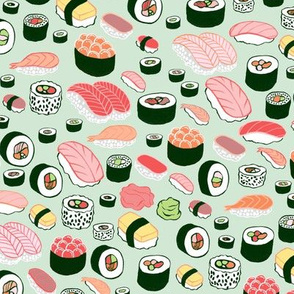 Sushi Fabric Wallpaper Home Decor Spoonflower