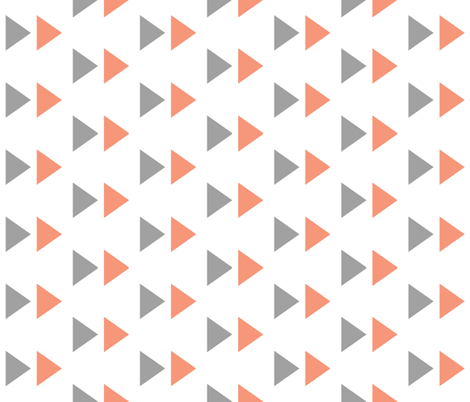 Triangles in gray and coral fabric by ajoyfulriot on Spoonflower - custom fabric