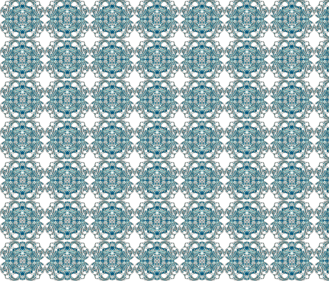 Teal Tiles fabric by pwmarcus on Spoonflower - custom fabric