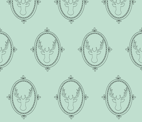 Frame deer - mint fabric by ajoyfulriot on Spoonflower - custom fabric