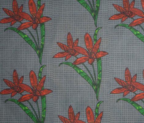 flowers on grey weave