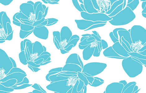 MAGNOLIA_GRANDE_FLORA_TURQUOISE_XLARGE fabric by kirstenkatz on Spoonflower - custom fabric