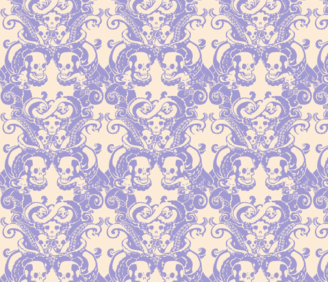 Skull & Tentacle in pale lavender & cream fabric by damousey on Spoonflower - custom fabric
