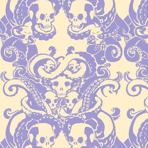 Skull & Tentacle in pale lavender & cream