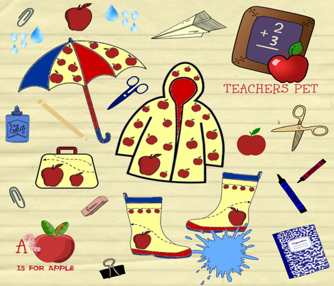 RAINY SCHOOL DAYS fabric by bluevelvet on Spoonflower - custom fabric