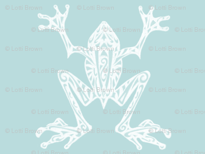 Fabulous Frogs - Vintage Blue/White