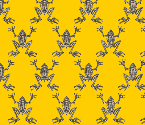 Fabulous Frogs - Bold Yellow (original version) fabric by lottibrown on Spoonflower - custom fabric
