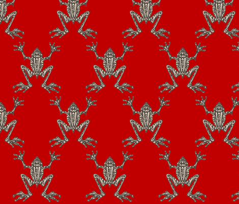 Fabulous Frogs - Bold Red fabric by lottibrown on Spoonflower - custom fabric