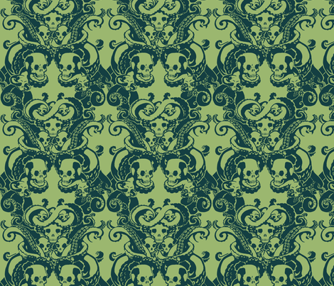 Skull & Tentacle in ecto green fabric by damousey on Spoonflower - custom fabric