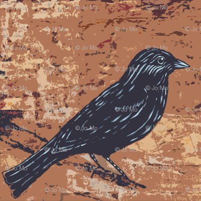 Blackbird on Textured Earthy Brown