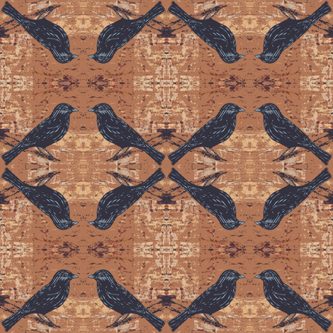 Blackbird on Textured Earthy Brown fabric by peaceofpi on Spoonflower - custom fabric