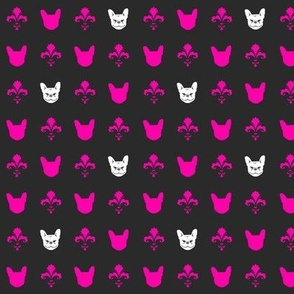 French Bulldog Fleur - Charcoal & Hot Pink