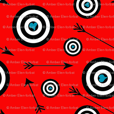 blue hearts on black and red targets