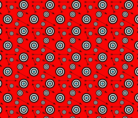 blue hearts on black and red targets fabric by redbicycle on Spoonflower - custom fabric