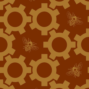 Bees And Gears in Red & Gold