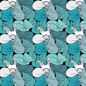 Cats and Rabbits in blue