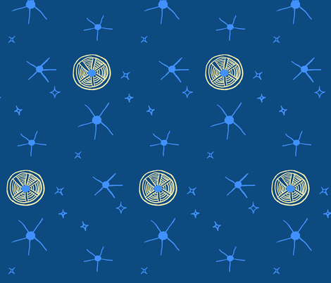 Moon + stars, bedtime limited palette 1 fabric by su_g on Spoonflower - custom fabric