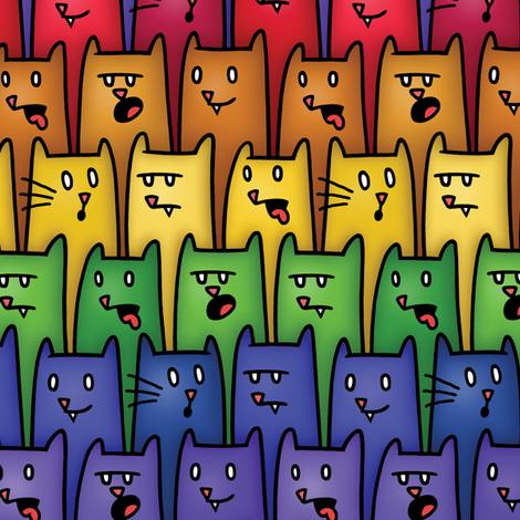 Rainbow Kitty Cat fabric by genkigear on Spoonflower - custom fabric