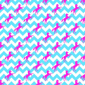 Horse on Chevron Pink Turquoiseopy