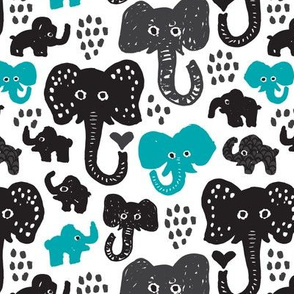 Cute indian elephants oriental blue illustration print