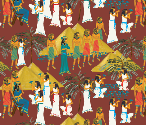 Egyptians on brown fabric by kociara on Spoonflower - custom fabric
