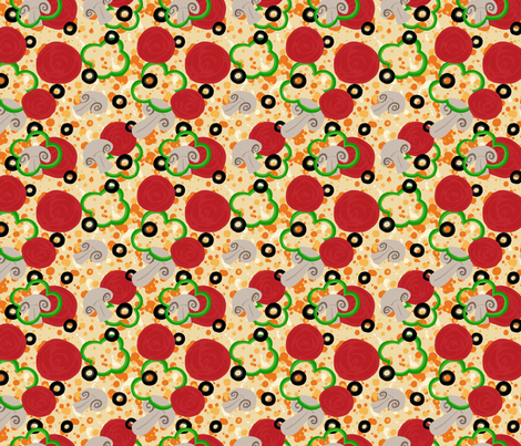Pizza Supreme fabric by rosalarian on Spoonflower - custom fabric