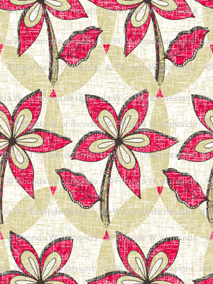Floral Melody - Retro Red Blooms