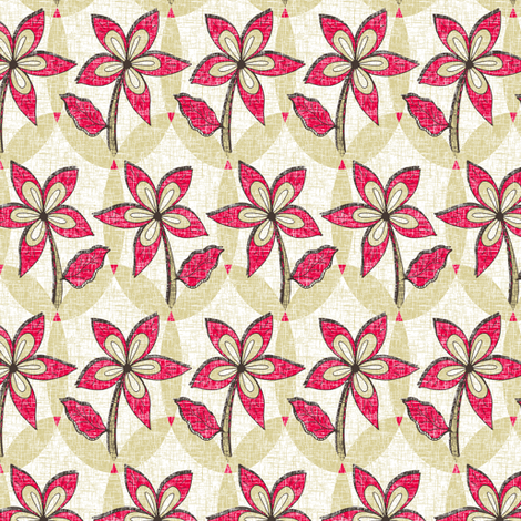 Floral Melody - Retro Red Blooms fabric by rhondadesigns on Spoonflower - custom fabric