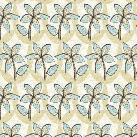 Floral Melody - Mint Blue Spring Blooms fabric by rhondadesigns on Spoonflower - custom fabric