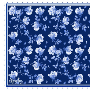 Hampton Roses Tea Towel in ink blue