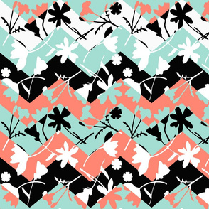 Coral and Mint Floral Chevron