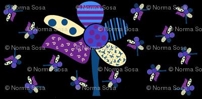 Dancing_purple flowers_on_black