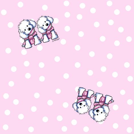 Maltese Girls in Pink fabric by kiniart on Spoonflower - custom fabric