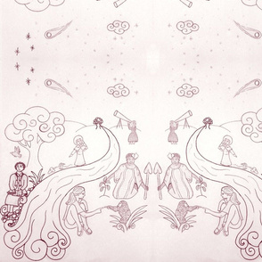 Women of Science Toile - Burgandy