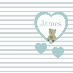 Blue Heart Gray Stripes- Personalized