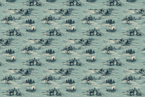 Labrador Toile in Duck Egg Blue and Teal fabric by gartmanstudio on Spoonflower - custom fabric