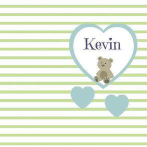Blue Heart Green Stripes-Personalized