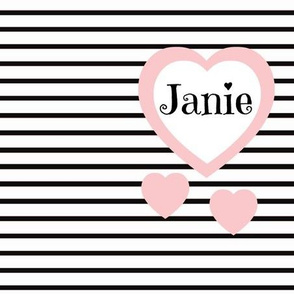 Pink Heart Black Stripes-Personalized