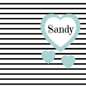 Blue Heart Black Stripes-Personalized