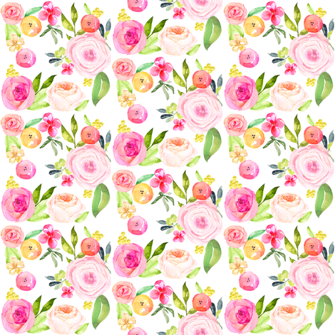 Spring Peonies, Roses, and Poppies // TINY  fabric by theartwerks on Spoonflower - custom fabric