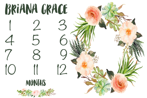 Custom Succulent and Peach Floral Baby Milestone Blanket fabric by hipkiddesigns on Spoonflower - custom fabric