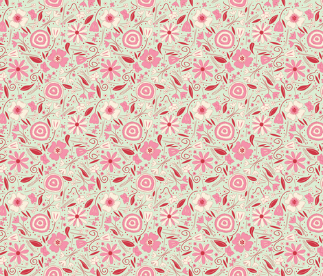 Fresh Floral Pinks SMALL fabric by brendazapotosky on Spoonflower - custom fabric