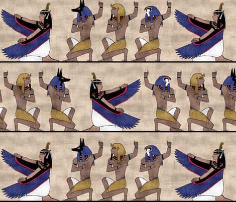 Egyptian gods on Papyrus fabric by pond_ripple on Spoonflower - custom fabric