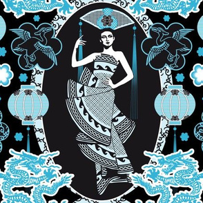 Imperial China Paper Cutting (Aqua)