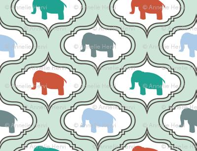 Mint Damask Elephant