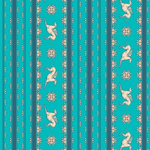 Angel Hound in Teal and Cream