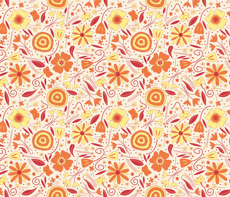Fresh Floral Orange and Yellow fabric by brendazapotosky on Spoonflower - custom fabric